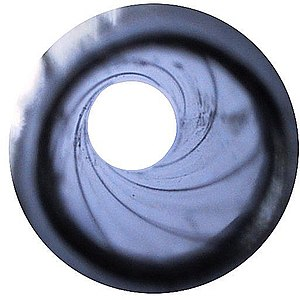 Rifling - Traditional rifling of a 9 mm handgun barrel.