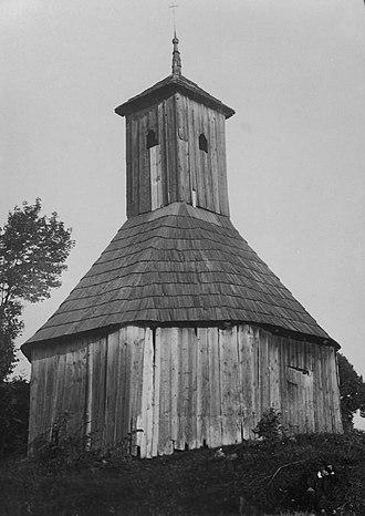 Dlouhá Třebová - Wooden campanile in Dlouhá Třebová in 1906.