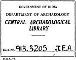 """""""GOVERNMENT OF INDIA DEPARTMENT OF ARCHAEOLOGY CENTRAL ARCHAEOLOGICAL LIBRARY"""" ink stamp detail, Journal of Egyptian Archaeology, The - Vol. 9 (page 1 crop).jpg"""