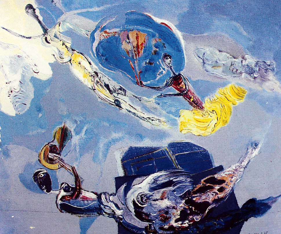 """""""Journey to the sky"""", 1977 oil on canvas, 107 x 132 cm"""
