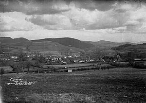 "Clun - Clun, in the ""Clun Valley"", surrounded by agricultural lands in the early 20th century."