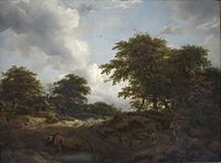 'Wooded Landscape with a Pool and Figures' by Jacob van Ruisdael and Nicolaes Berchem.JPG