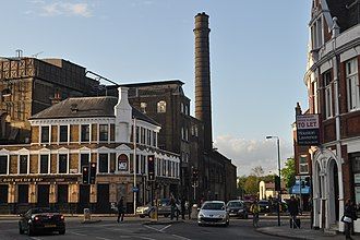 Wandsworth - Image: (former) Ram Brewery complex and Brewery Tap pub