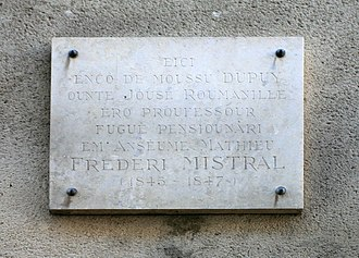 Frédéric Mistral - Plaque on the rue Louis Pasteur in Avignon where Joseph Roumanille taught such brilliant future poets as Anselme Matthieu and Frédéric Mistral