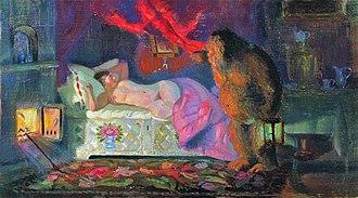 Domovoi - Domovoi Peeping at the Sleeping Merchant Wife, by Boris Kustodiev