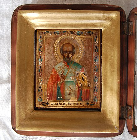 """Icon of Saint Nikola the Wonderworker"", Moscow Governorate Obraz Sviatago Nikoly Chudotvortsa Didiakovo 02.jpg"