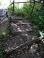 Прыступкі да пешаходнага моста цераз Ваку. Steps to pedestrian bridge over the Vokė river - panoramio.jpg