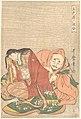 """『五色染六歌仙』 僧正遍昭-""""The Poet Sōjō Henjō (816–890) Slipping a Letter into a Woman's Sleeve,"""" from the series Five Colors of Love for the Six Poetic Immortals (Goshiki-zome rokkasen) MET DP135578.jpg"""