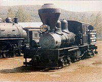 Photograph of Meadow River Lumber Company Shay #1 on static display at Steamtown, Bellowsfalls, Vermont.
