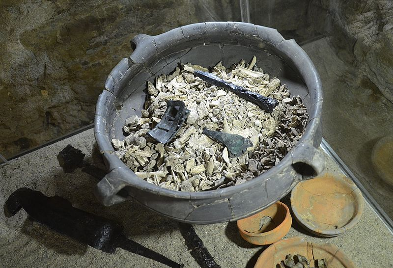 File:02016 Hasdingisches Männerbrandgrab aus Prusiek, Ost Beskiden, ausgestellt im Archäologischen Museum in Sanok.jpg