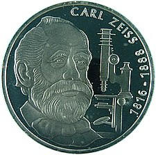 10 DM commemorative coin issued by the Federal Republic of Germany (1988) designed by Carl Vezerfi-Clemm on the 100th anniversary of Carl Zeiss's death 10-DM-100. Geburtstag von Carl Zeiss.jpg