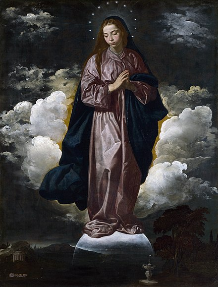 Immaculate Conception by Diego Velazquez, 1618 10 Inmaculada Concepcion (National Gallery de Londres, c. 1618).jpg