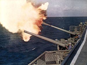127 mm guns firing aboard USS Bon Homme Richard (CVA-31) c1962.jpg