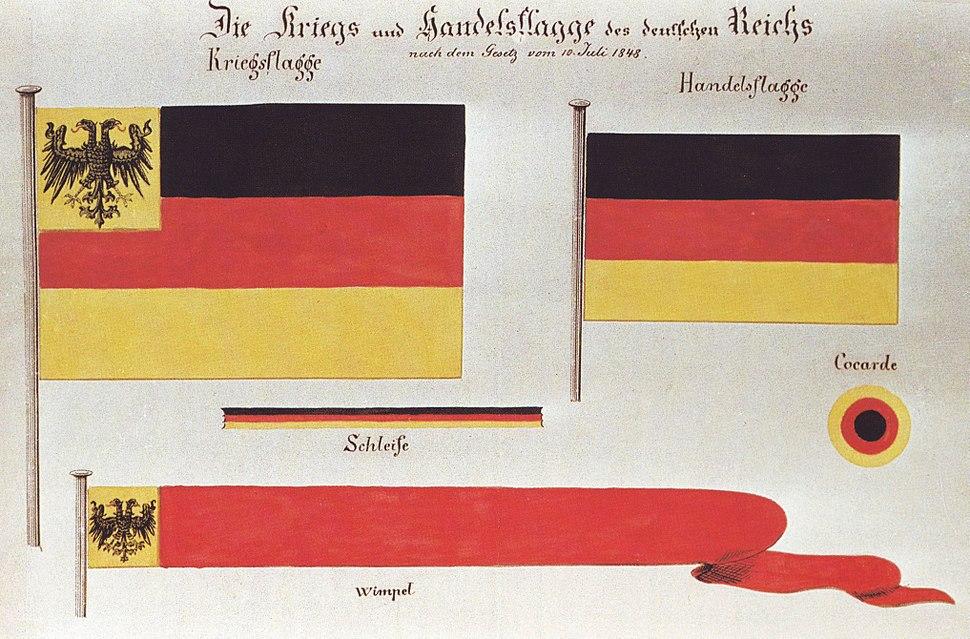 13 November 1848 RGBl Aquarell Entwurf Kriegs und Handelsflagge