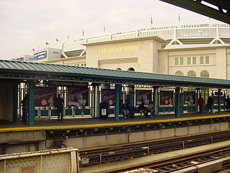 Subway Series - Image: 161st Street Yankee Stadium IRT Jerome southbound platform 2009 Yankee Stadium