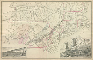 Lehigh and New England Railroad - 1876 map
