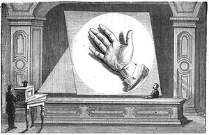 Opaque projector - Henry Morton's projection as illustrated in François Moigno's L'art des projections (1872)