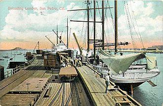 Carrier Dove (schooner) - 1912 - San Pedro, CA - 4 masted schooner Carrier Dove, dockside, unloading her wares