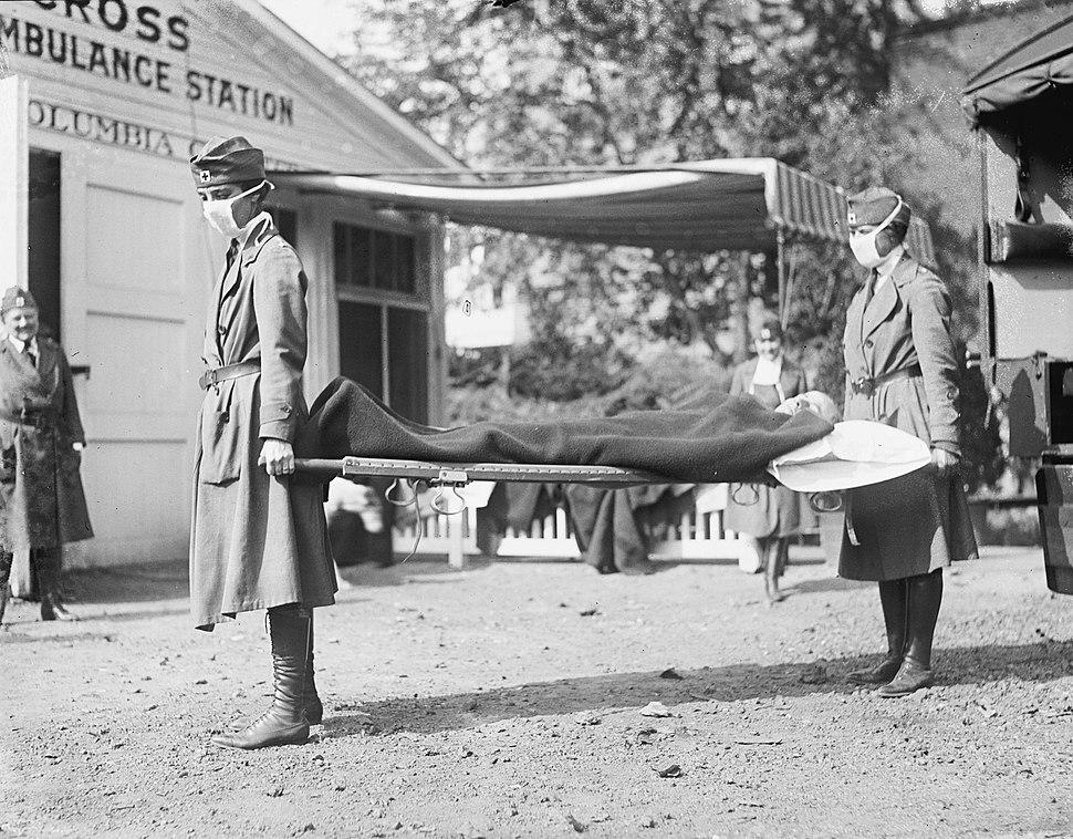 1918 flu outbreak RedCrossLitterCarriersSpanishFluWashingtonDC