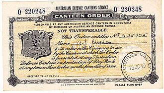 Postal order - Not used as the recipient was at an RAF base in England and presumably had no ready access to an Australian canteen.