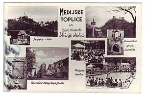 Medija Thermal Spa - A postcard showing the spa and other sights of the local area