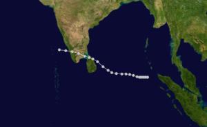 1964 Rameswaram cyclone - Image: 1964 Dhanushkodi cyclone track