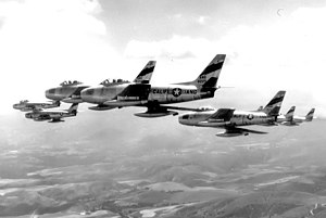 196th Reconnaissance Squadron - 196th FIS F-86As in formation, 1954