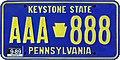 1989 Pennsylvania license plate AAA-888.jpg