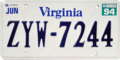 1993 Virginia license plate, with June 1994 sticker.png