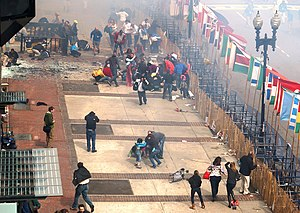 Boston Marathon bombing - Image: 1st Boston Marathon blast seen from 2nd floor and a half block away