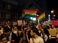 2º Junta Brasil em Juiz de Fora - bandeiras arco-íris e cartaz contra a cura gay.JPG