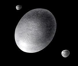 Vue d'artiste de (136108) Hauméa et de ses satellites, Hiʻiaka (en bas à droite) et Namaka (en haut à gauche)