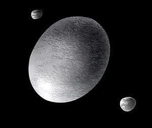Haumea - Artist's conception of Haumea with its moons Hiʻiaka and Namaka. The moons are much more distant than depicted here.