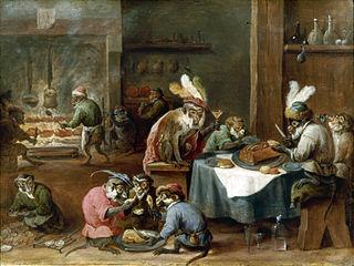 Singes prenant un repas dans une cuisine