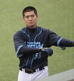 20120310 Taketosi Goto,infielder of the Yokohama BayStars, at Seibu Dome.JPG