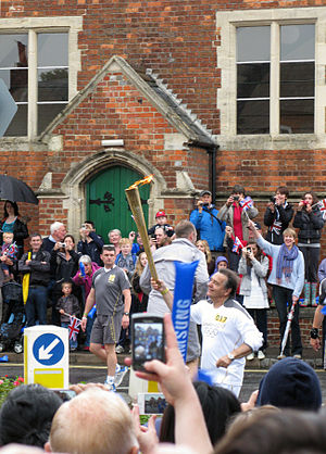Raymond Blanc - Raymond Blanc participating in the 2012 Summer Olympics torch relay
