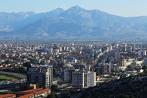 View of Shkodra with the Albanian Alps in the background (2013)