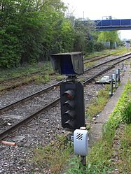 2015 at Redbridge station - dwarf signal on Depot Departure Road.JPG