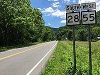 2016-06-06 12 44 16 View south along West Virginia State Route 28 and west along West Virginia State Route 55 (North Fork Highway) near Dolly Town Road in northern Pendleton County, West Virginia.jpg