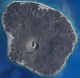 a volcanic island that is part of the Volcano Islands arc.