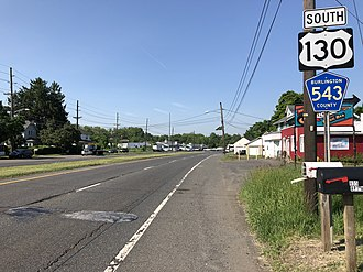 Burlington, New Jersey - US 130 and CR 543 in Burlington