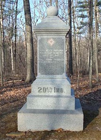 Erasmus Corwin Gilbreath - Monument commemorating the actions of the 20th Indiana Regiment and the death of Col. Wheeler at the Battle of Gettysburg.  The monument is located at the battle site, near Devil's Den.