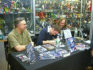David Alan Mack - (From left to right:) Mack, Will Sliney and Keith DeCandido at a signing at Forbidden Planet in Manhattan, April 22, 2010