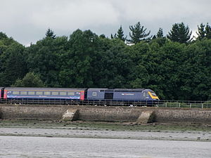 South Devon Railway sea wall - A First Great Western InterCity 125 approaching Starcross
