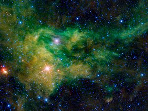 HD 21389 - CE Cam and the surrounding nebulosity at infrared wavelengths (Credit: NASA/JPL-Caltech/UCLA)