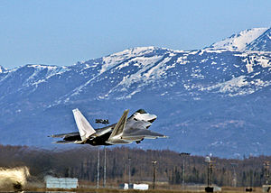 525th Fighter Squadron -  An F-22A Raptor from the 525th Fighter Squadron takes off from Elmendorf AFB