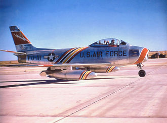 388th Fighter Wing - 563d TFS F-86F, F Ser. No. 53-1111, about 1955. Note Wing Commander's markings on aircraft.