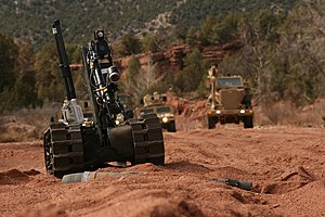 4th Engineer Battalion (United States) - The Talon Robot examines ordnance during the 576th Engineer Company Field Training Exercise (FTX) at Camp Red Devil, Fort Carson in March 2013.