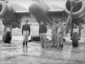 No. 93 Squadron RAAF - The crews of the first two No. 93 Squadron Beaufighters to arrive at Bofu, Japan after escorting P-51 Mustang fighters