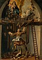 A builder falling from a platform in an apse, St Bruno (?) i Wellcome V0017455.jpg